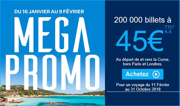 MEGA PROMO Air Corsica : 200 000 billets à 45€ttc l'aller simple !